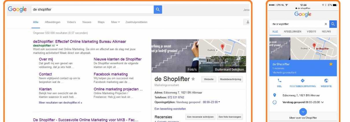 google bedrijfspagina desktop mobiel